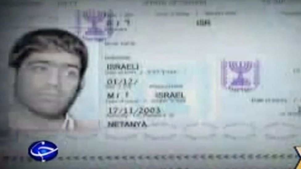 A screenshot from Iranian state TV purportedly showing an Israeli passport with Majid Jamali Fashi's picture
