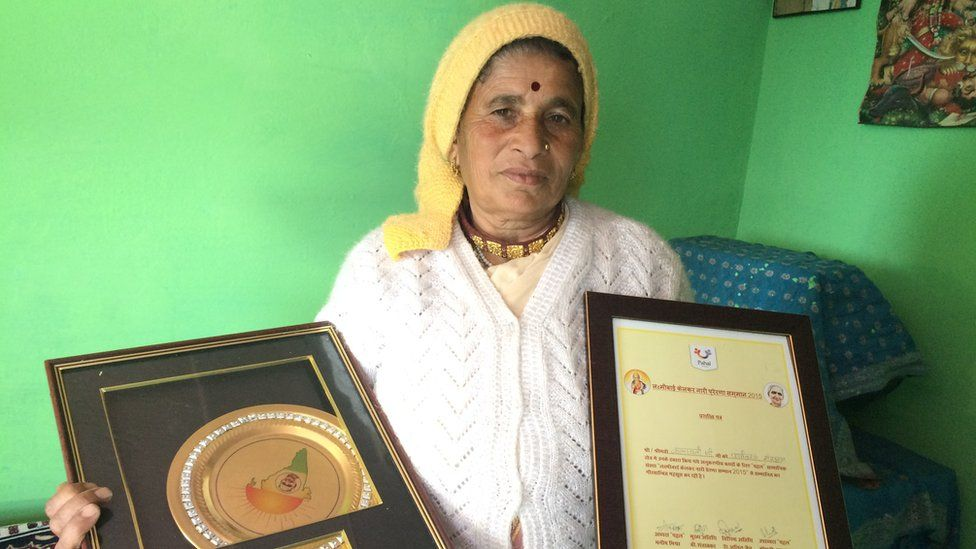 Kalawati Devi Rawat with some of her awards