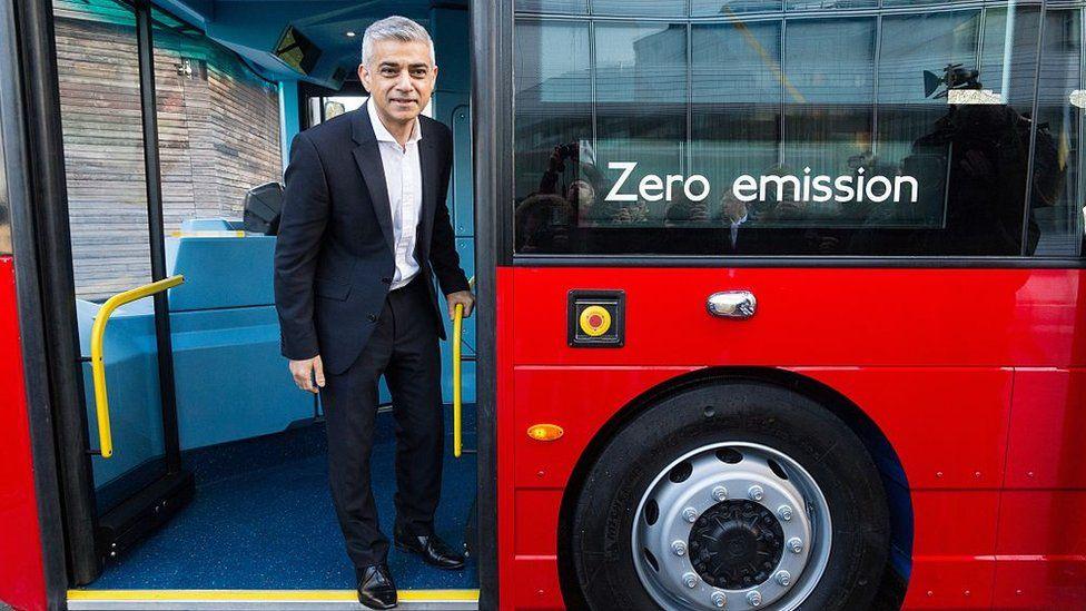 Mayor of London on a zero emission bus