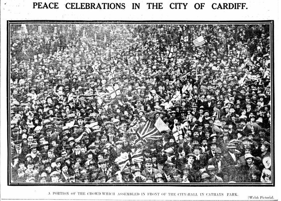 Armistice Day celebrations in 1918 in Cardiff