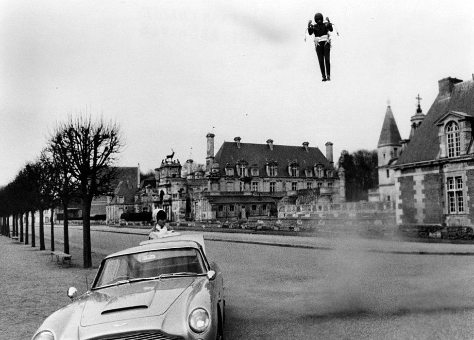 James Bond landing a jetpack in the movie Thunderball
