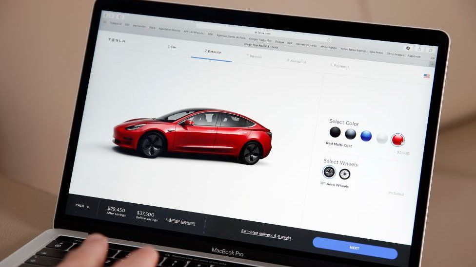 Tesla website showing the Tesla 3 model