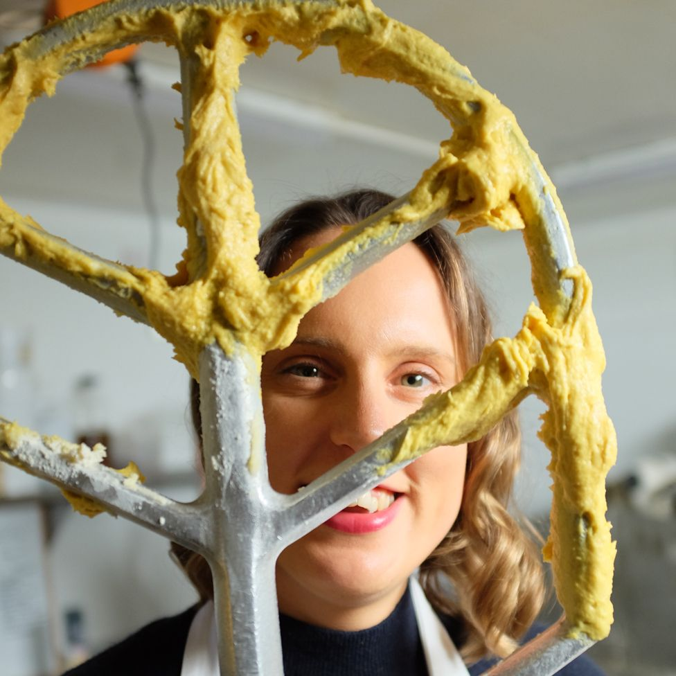 Frances Quinn with a giant whisk