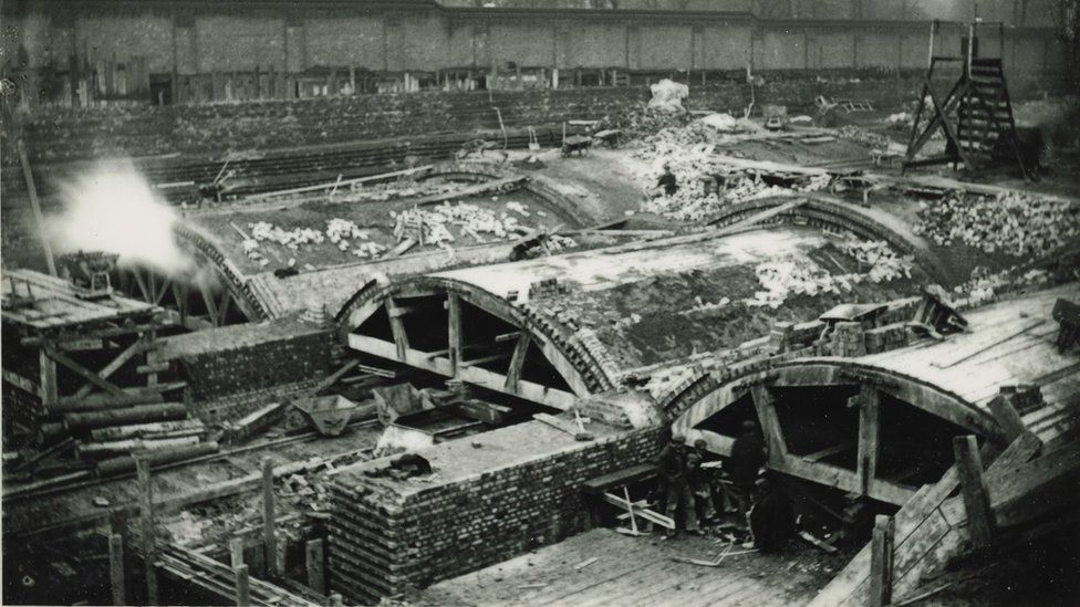 The tunnels at Lord's being built in 1897 - seen here in a photo from the SWA Newton collection