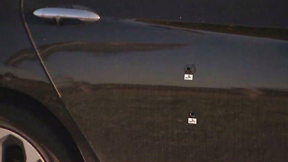 Several bullets struck the backseat when the girl slept