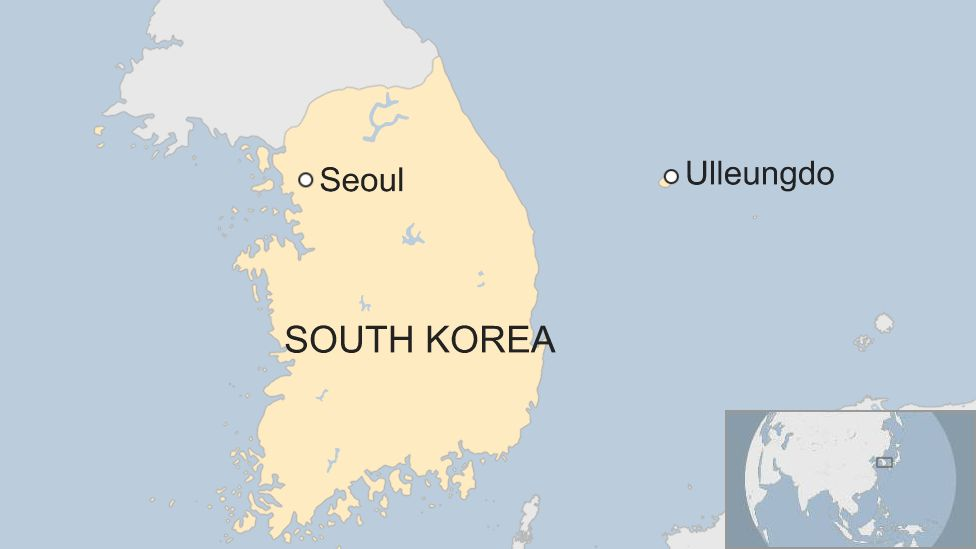 Map showing Ulleungdo off South Korea