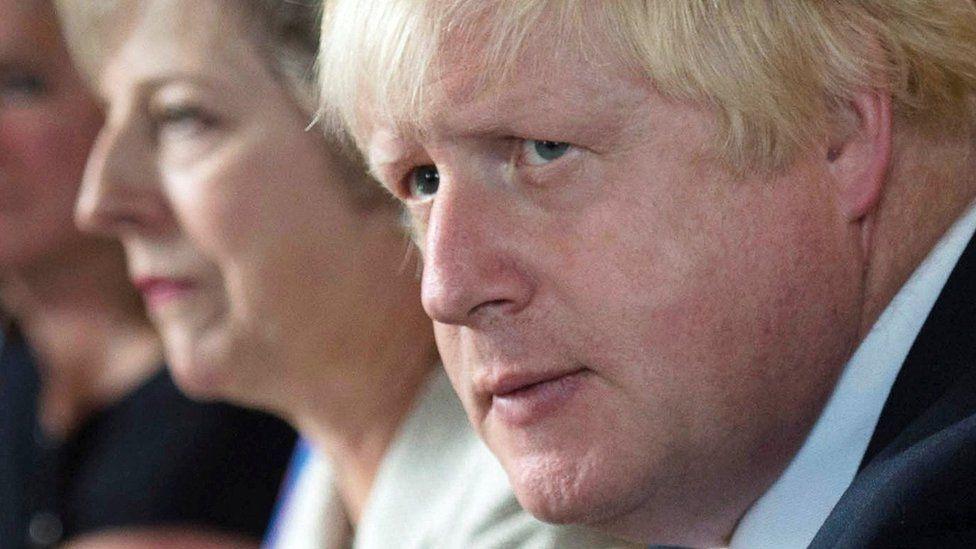 Boris Johnson with Theresa May at cabinet