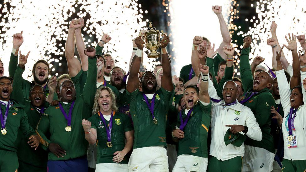South Africa's winning rugby cup team