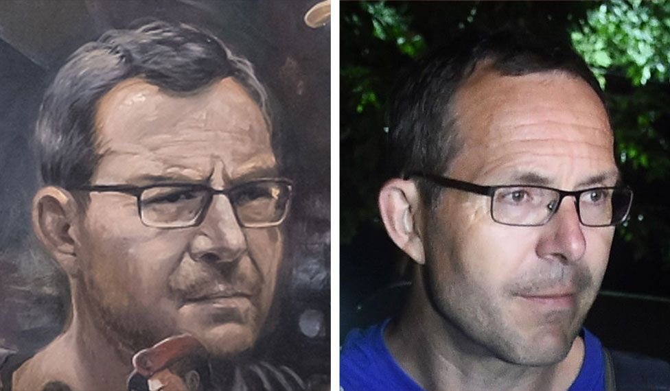 A mural image of John Volanthen on the left side and a photo of John Volanthen on the right side