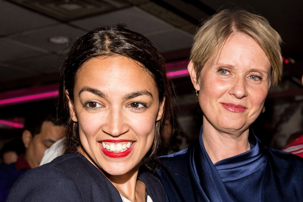 Alexandria Ocasio-Cortez and supporter Cynthia Nixon