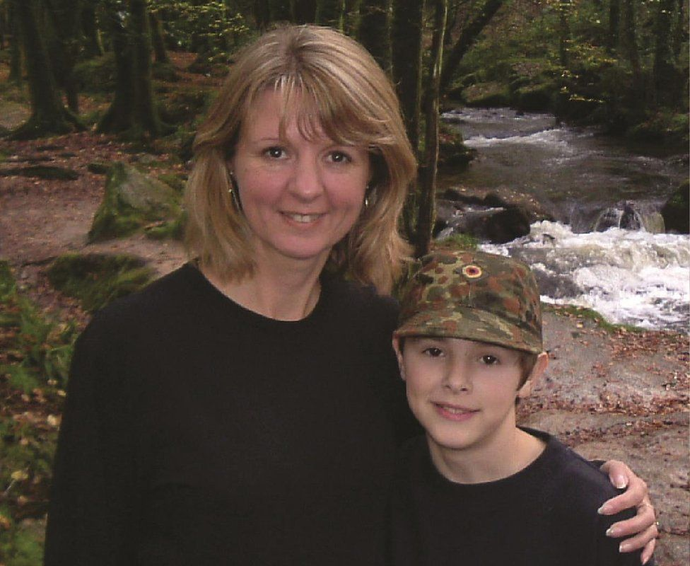 Charlie aged about 10 with his mum Jan
