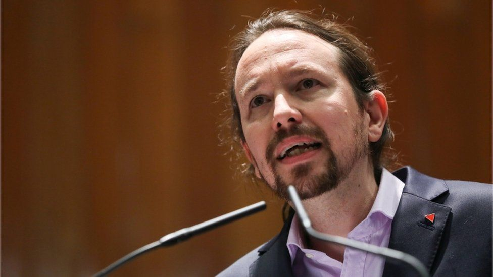 Pablo Iglesias delivering a speech in January 2020