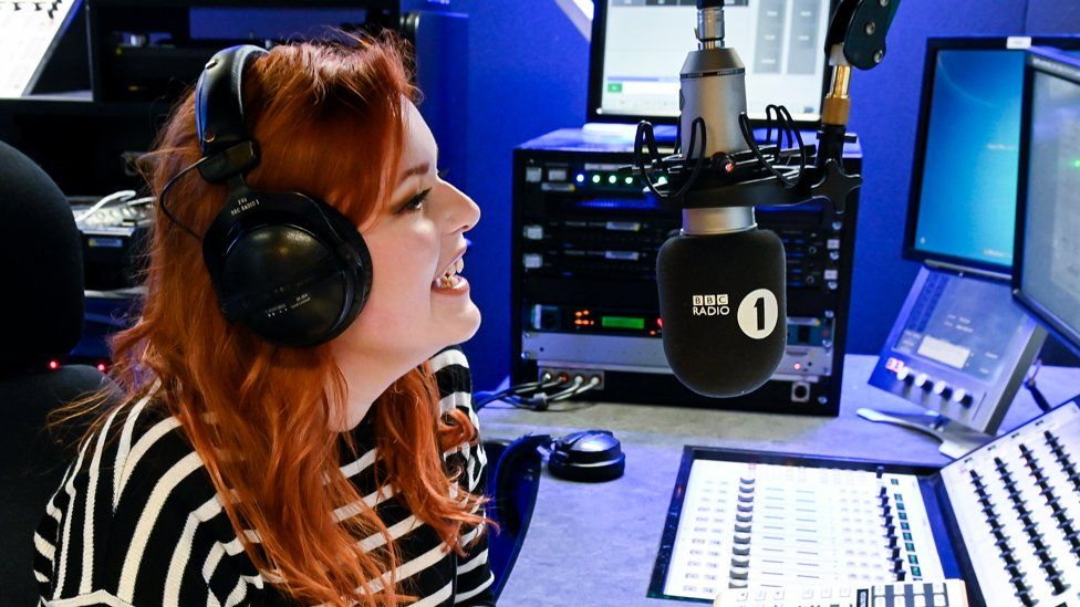Lucy Edwards in the Radio 1 studio