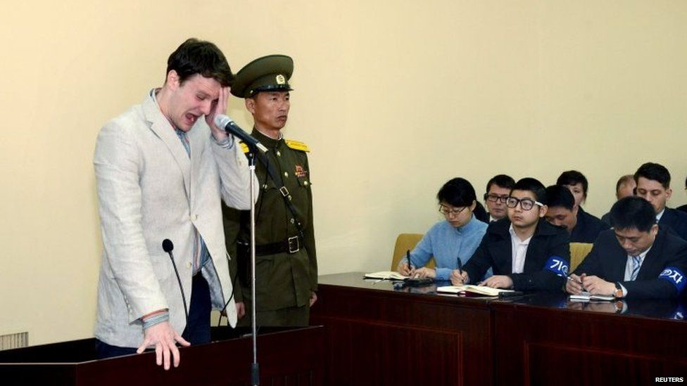 Otto Warmbier cries in court in undisclosed location; photo released on 16/03/2016