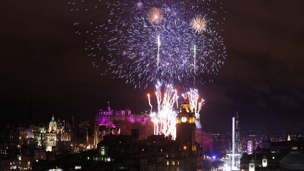 Fireworks over Edinburgh Castle during Hogmanay
