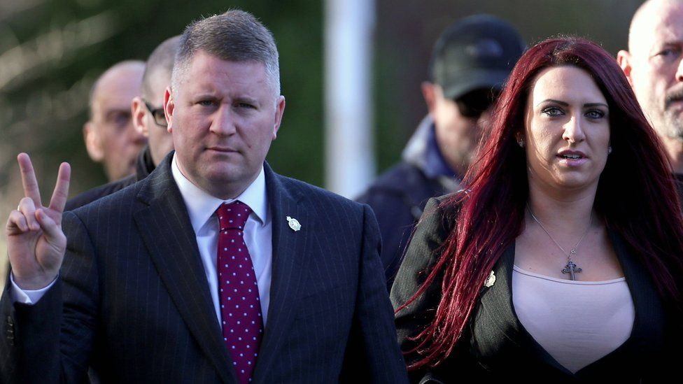 Jayda Fransen (left) and Paul Golding (right) arriving at court on 30/1/18