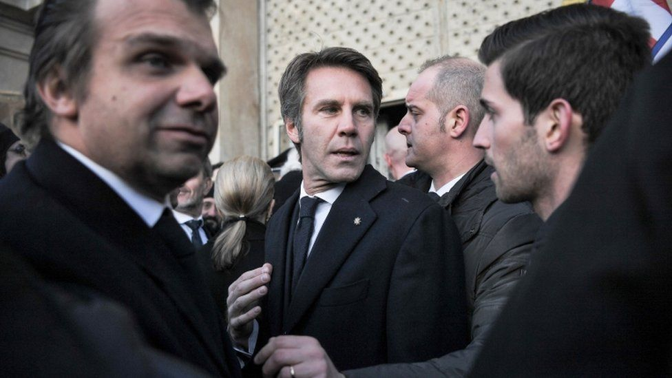 Emanuele Filiberto of Savoy (centre) takes part in a private ceremony to pay tribute to Victor Emmanuel III and his wife Queen Elena of Montenegro on 18 December 2017