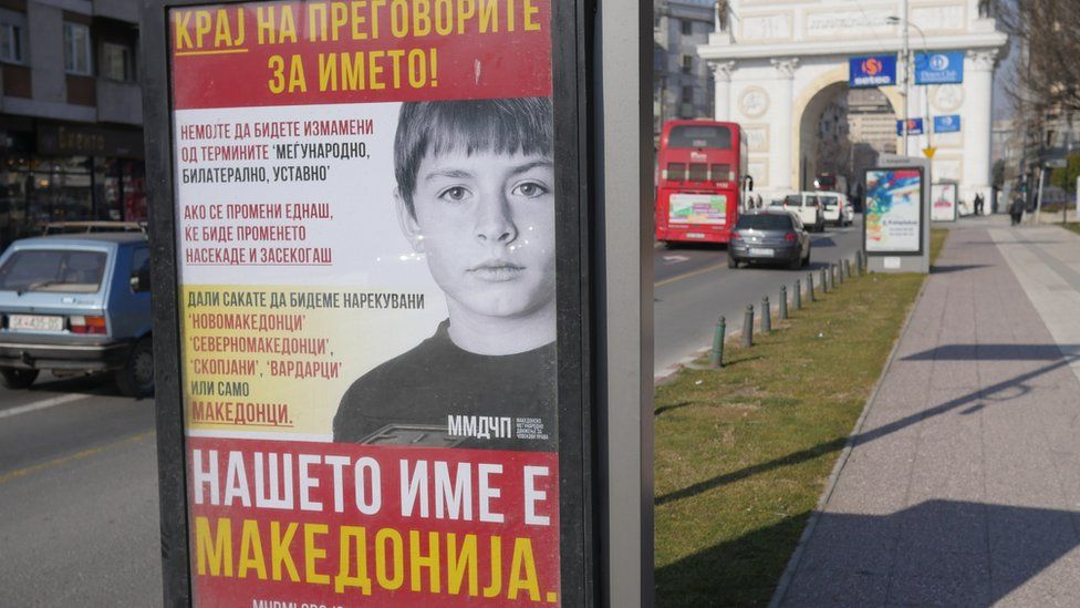 "This poster in Skopje rejects the new name, insisting ""Our name is Macedonia"""