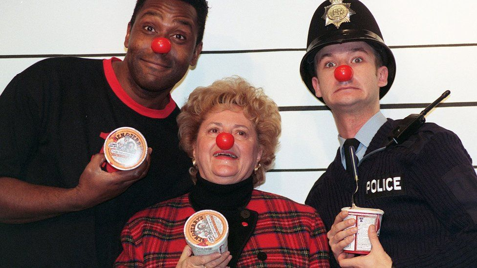 Lenny Henry and James Dreyfus with Cynthia Payne
