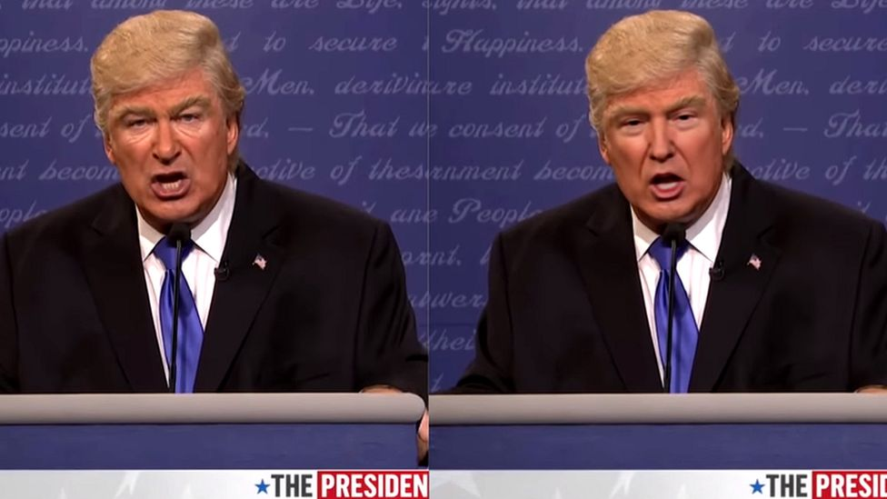 Alec Baldwin impersonating President Trump: The real Alec Baldwin is on the left
