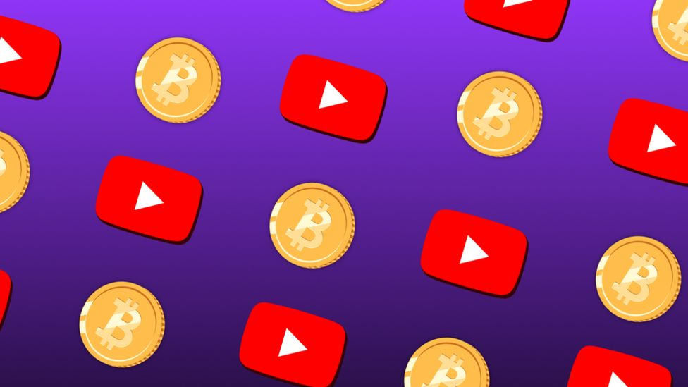 Bitcoin and YouTube icons