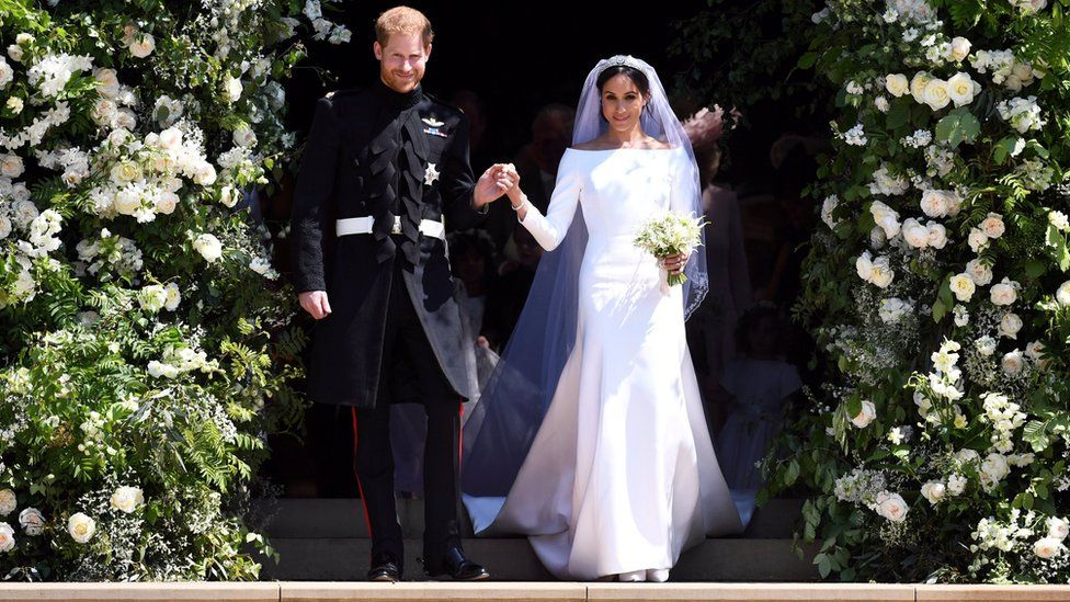 The Duke and Duchess of Sussex leaving the chapel after getting married