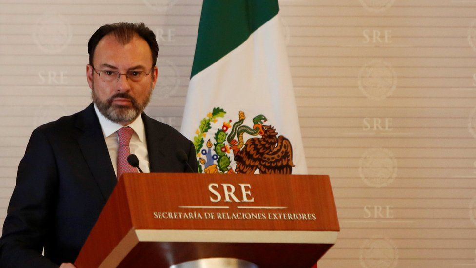 """Mexico""""s Foreign Minister Luis Videgaray addresses the audience during a meeting between Mexico and the United Nations on human rights in Mexico City, Mexico February 22, 2017"""