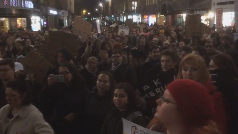 Protesters in Newcastle (30 January 2017)