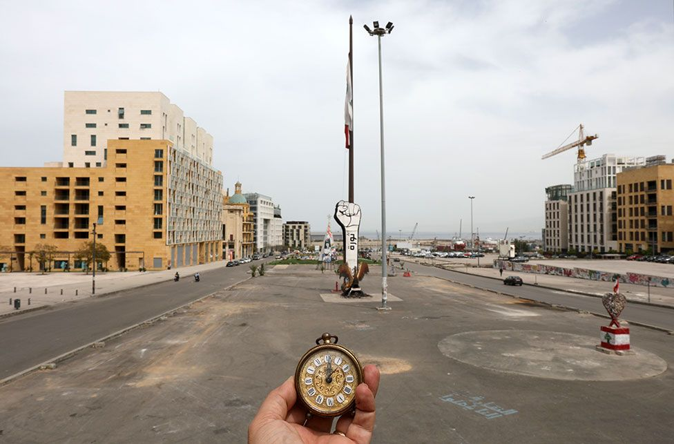A pocket watch seen in Martyrs' Square in Beirut, Lebanon