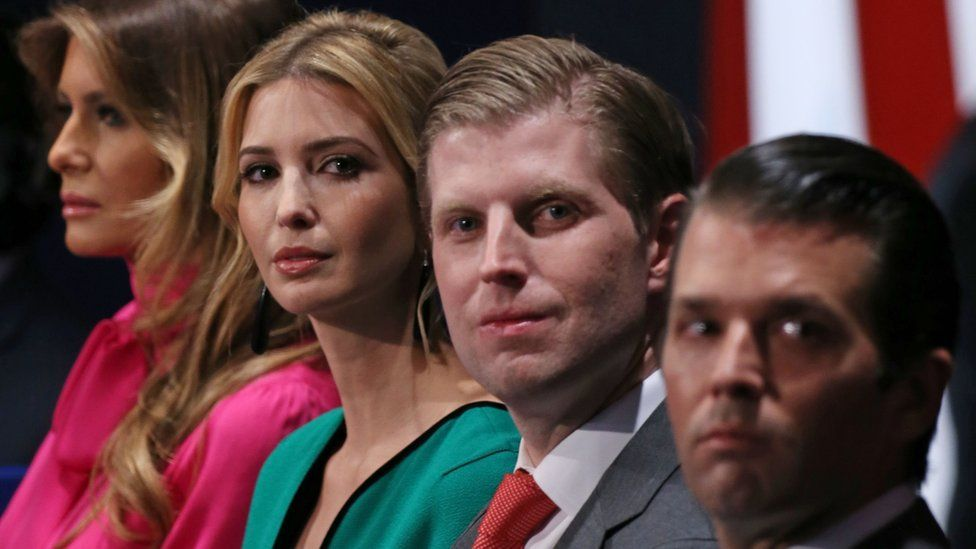 Wife Melania Trump, daughter Ivanka Trump, and sons Eric Trump and Donald Trump Jr listen to the second presidential debate at Washington University in St. Louis, Missouri.