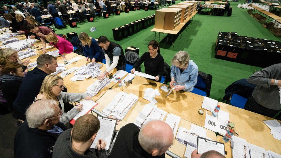Election workers counting votes in the RDS centre in Dublin