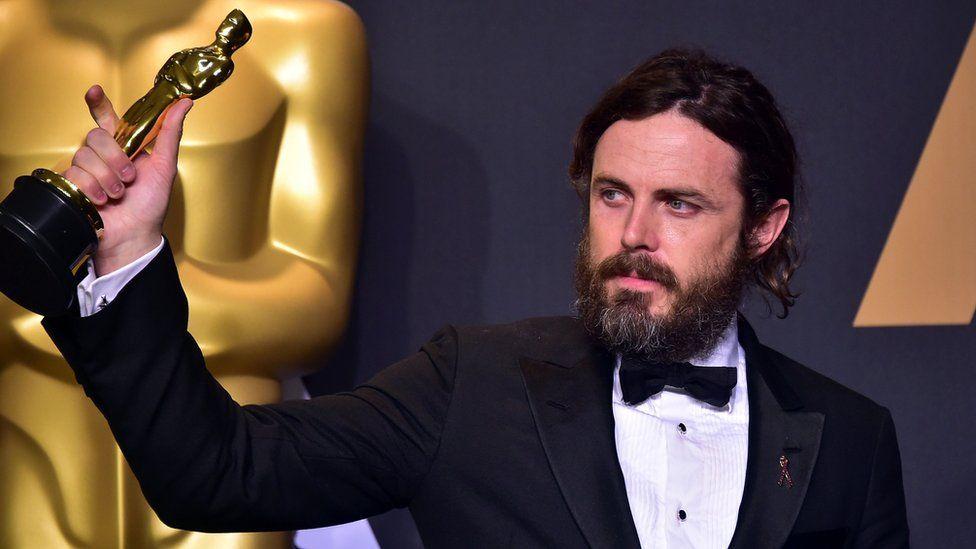 Casey Affleck after winning his Oscar