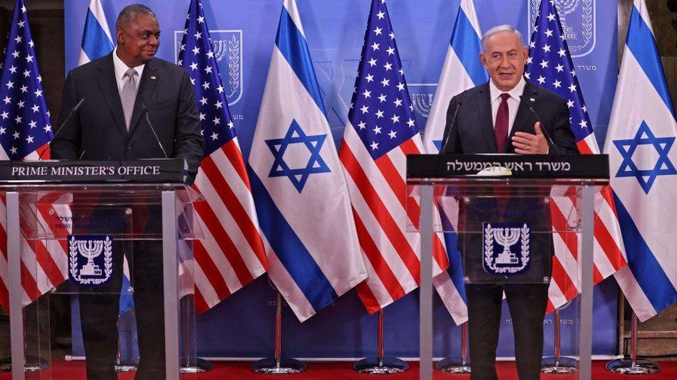Israeli Prime Minister Benyamin Netanyahu meeting US Defence Secretary Lloyd Austin in Jerusalem on 12 April 2021