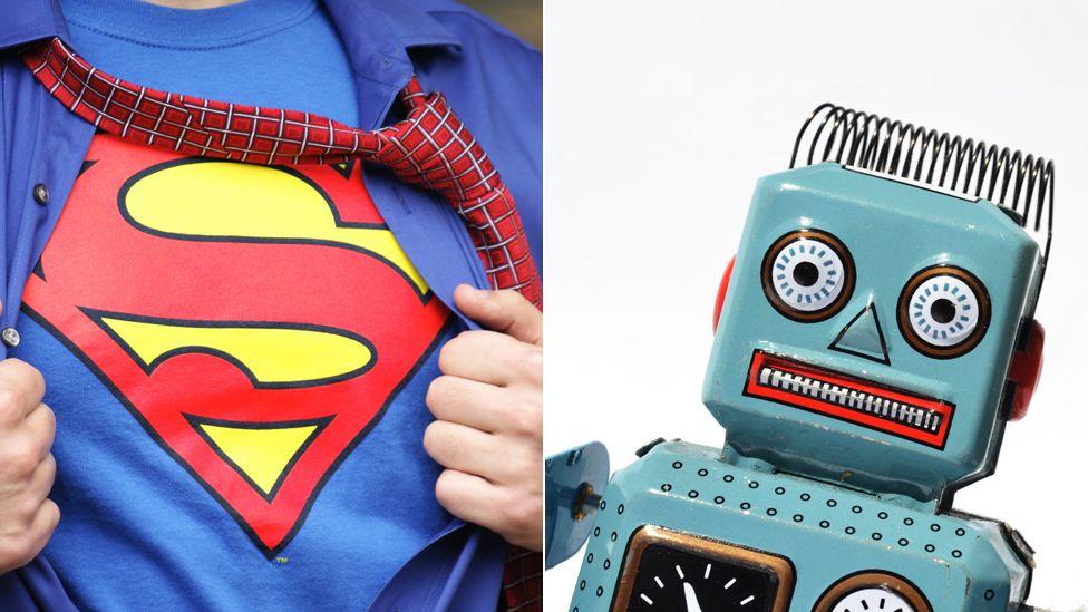 A Superman symbol and a robot