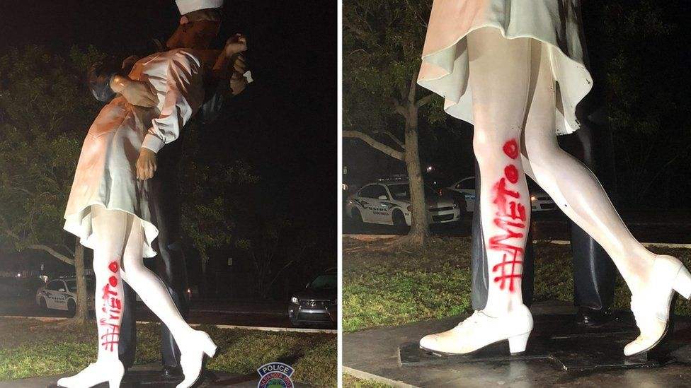 Two images showing graffiti painting on the 'Unconditional Surrender' statue in Florida