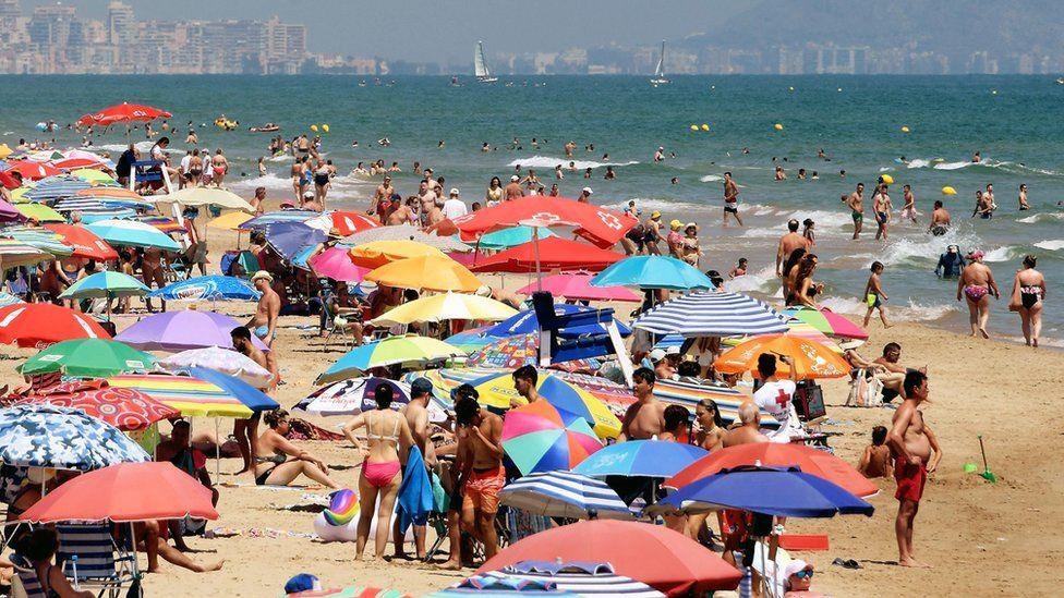 Busy beach in Spain