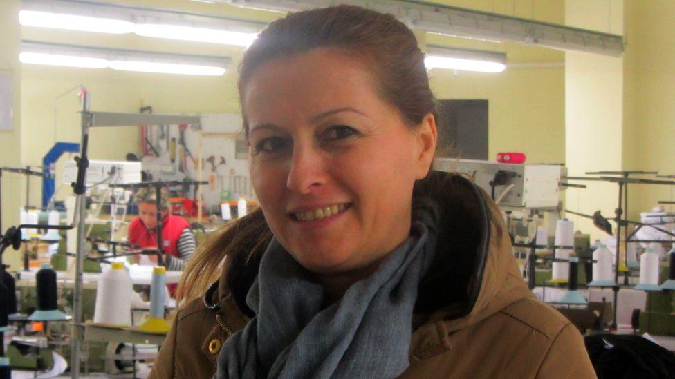 Mirela at the factory in Shkodra