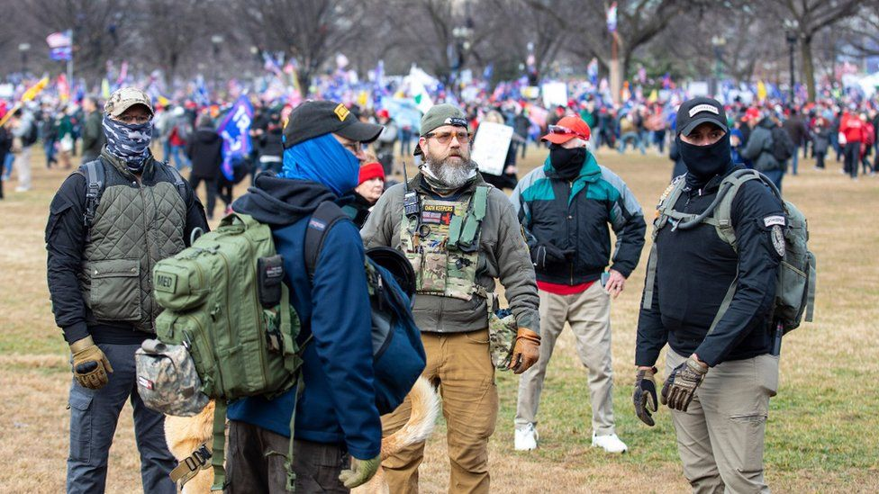 """Oath Keepers at a """"Stop the Steal"""" rally"""