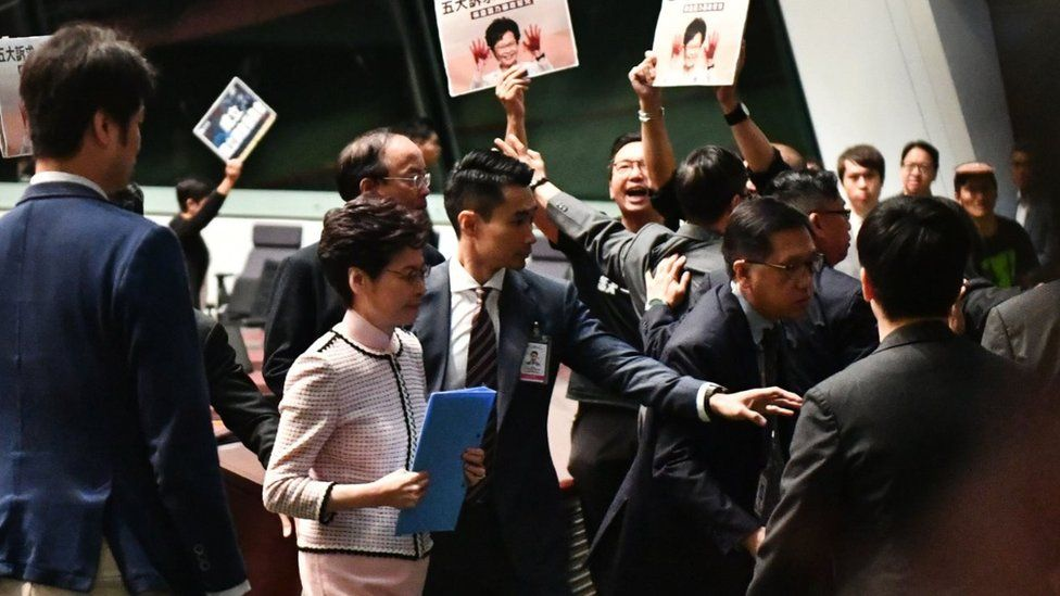 Carrie Lam leaving Wednesday's session