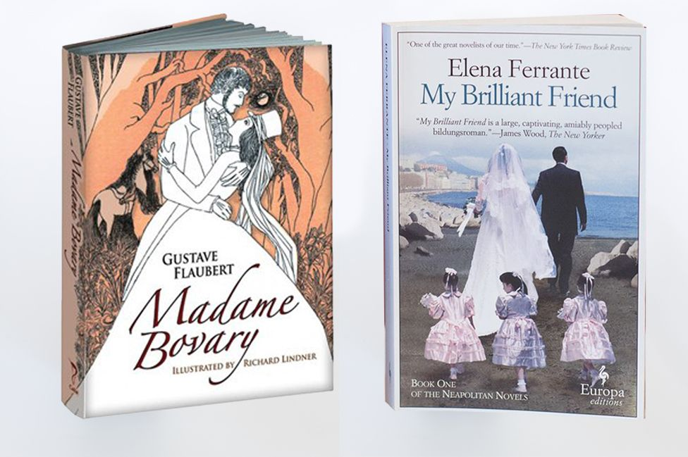 Covers of Flaubert's Madame Bovary and Ferrante's My Brilliant Friend
