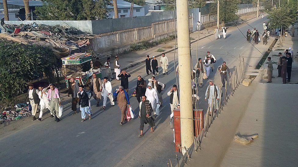 Men freed from prison by Taliban in Kunduz. 28 Sept 2015