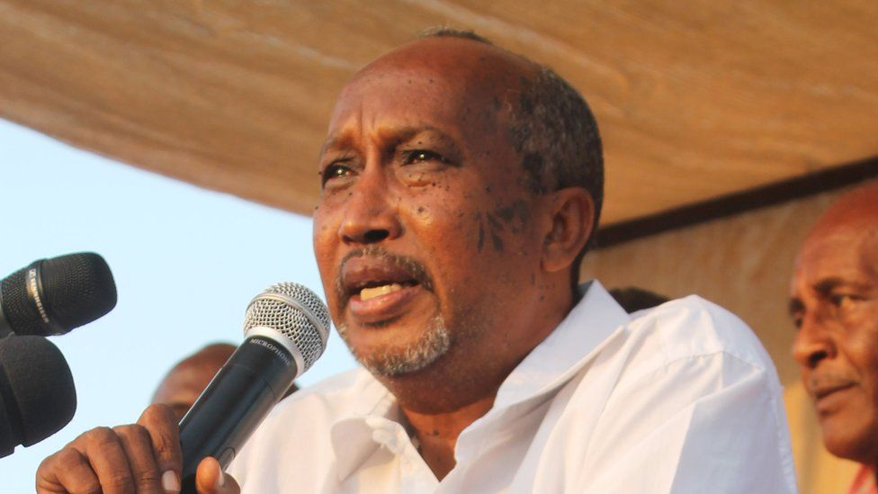 Djibouti election candidate Djama Abdourhaman Djama makes a speech