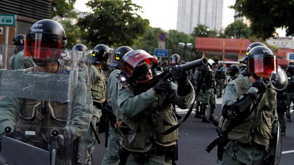 Riot police moved in as the unrest worsened at the New Town Plaza shopping centre