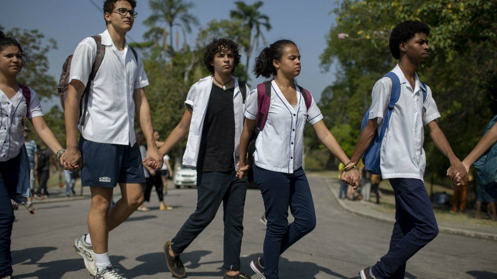 Students hold a demonstration outside Brazil's National Museum 3 September 2018