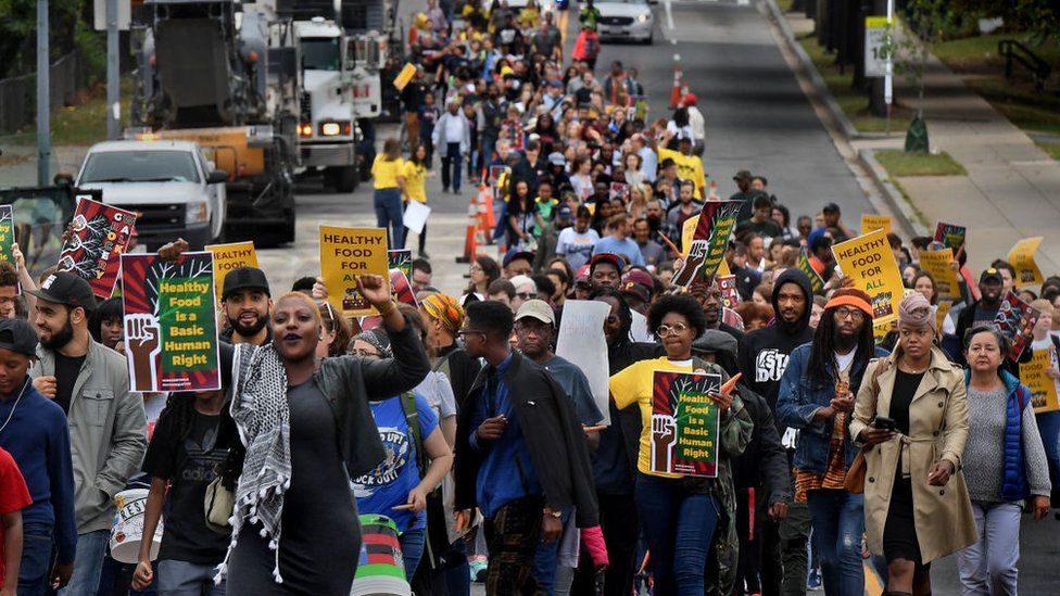 Hundreds marched for better access to healthy food in 2017 in a neighbourhood of Washington, DC