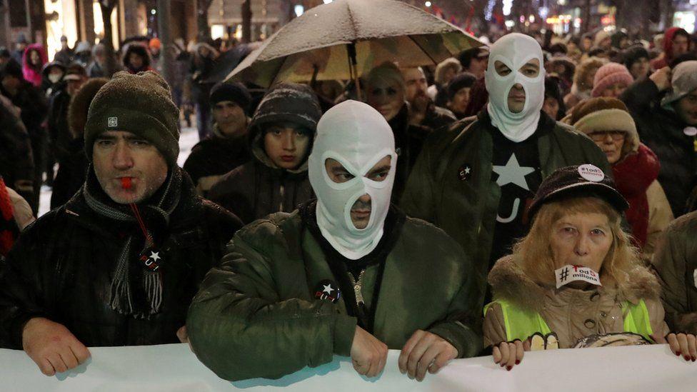 Protesters in Belgrade