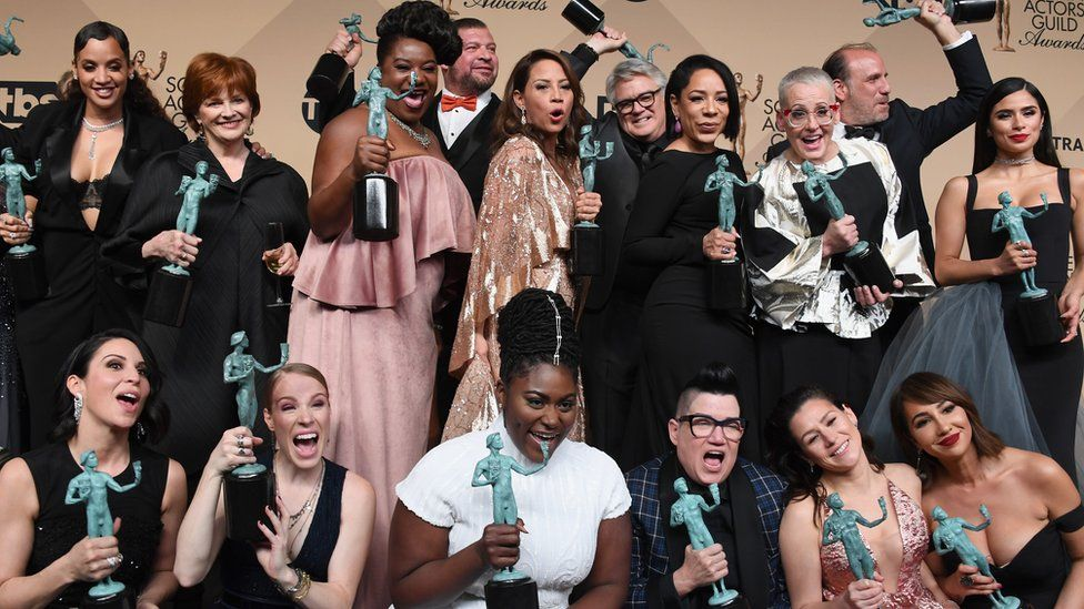 The cast of 'Orange is the New Black', winners of the Outstanding Ensemble in a Comedy Series award in the press room during the 23rd Annual Screen Actors Guild Awards at The Shrine Expo Hall on January 29, 2017