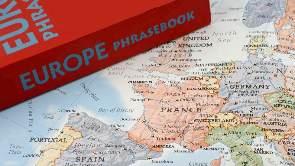 Phrase book on map of Europe