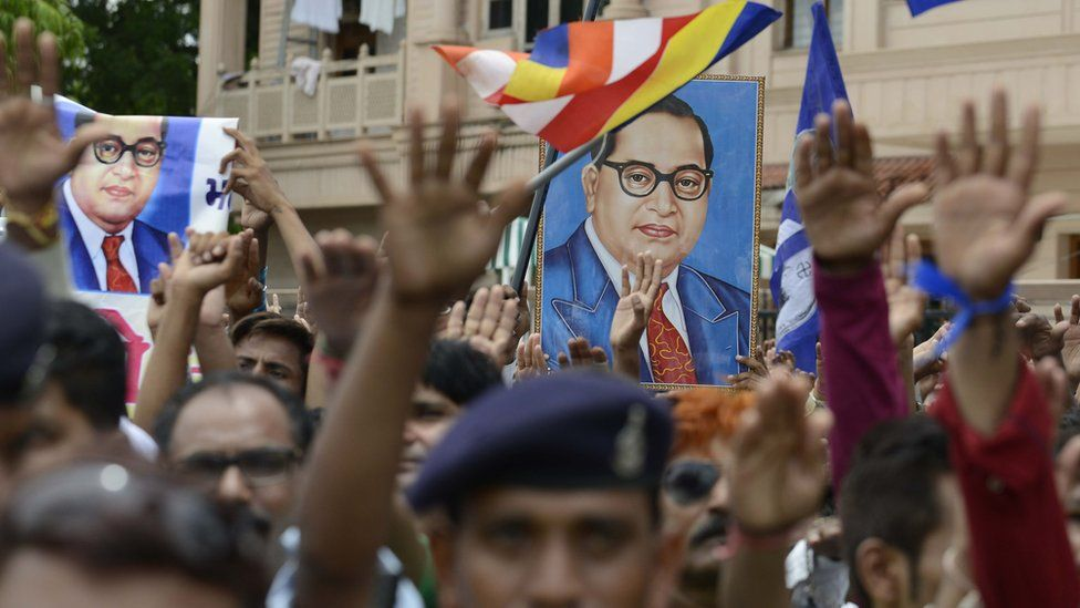 Protest with Ambedkar's image