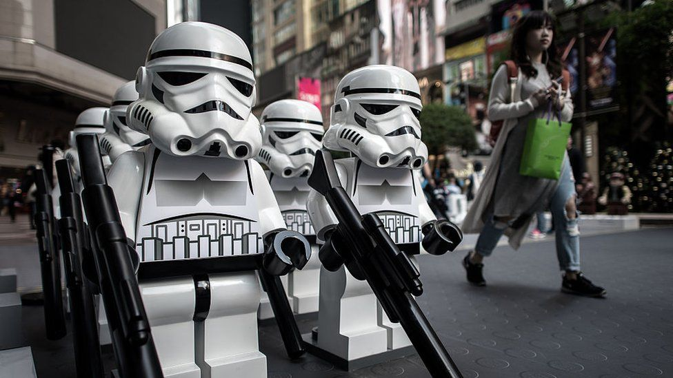 Star Wars models displayed outside a shopping mall in Hong Kong